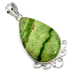 17.22cts natural green swiss imperial opal 925 sterling silver pendant r27680