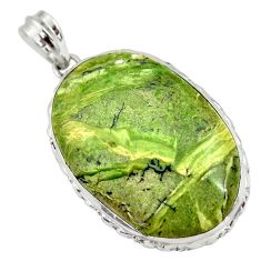 32.12cts natural green swiss imperial opal 925 sterling silver pendant r30511