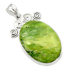 22.02cts natural green swiss imperial opal 925 sterling silver pendant r32171