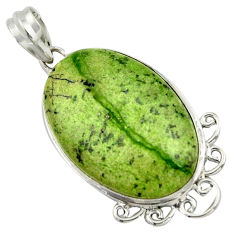 19.23cts natural green swiss imperial opal 925 sterling silver pendant r41718