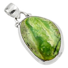 11.23cts natural green swiss imperial opal 925 sterling silver pendant r46342