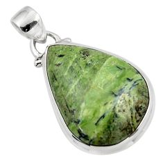13.73cts natural green swiss imperial opal 925 sterling silver pendant r46347