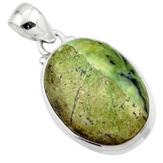 13.67cts natural green swiss imperial opal 925 sterling silver pendant r46354