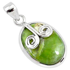 13.70cts natural green swiss imperial opal oval sterling silver pendant r94551
