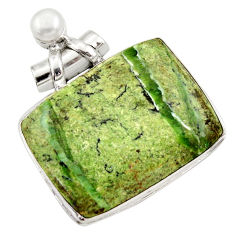 41.35cts natural green swiss imperial opal pearl 925 silver pendant r30510