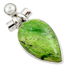 27.10cts natural green swiss imperial opal pearl 925 silver pendant r30515