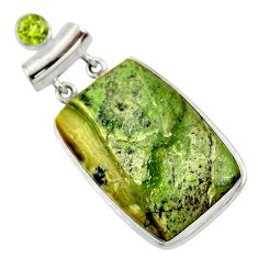 32.73cts natural green swiss imperial opal peridot 925 silver pendant r30506