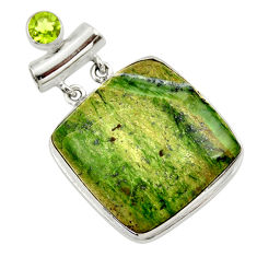 34.33cts natural green swiss imperial opal peridot 925 silver pendant r30517