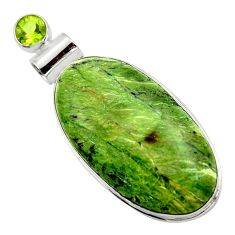 24.38cts natural green swiss imperial opal peridot 925 silver pendant r32174