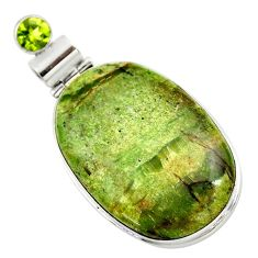 26.65cts natural green swiss imperial opal peridot 925 silver pendant r32179