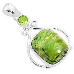12.58cts natural green swiss imperial opal peridot 925 silver pendant r94549