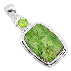 13.67cts natural green swiss imperial opal peridot 925 silver pendant r94554