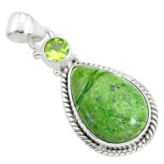 12.22cts natural green swiss imperial opal peridot 925 silver pendant r94555