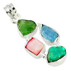 14.47cts natural green tourmaline campitos turquoise 925 silver pendant r26882