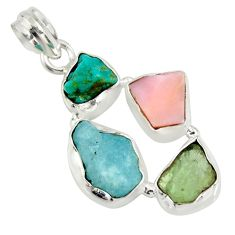 14.14cts natural green tourmaline campitos turquoise 925 silver pendant r26884