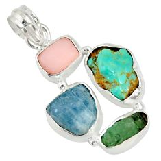 16.06cts natural green tourmaline campitos turquoise 925 silver pendant r26886