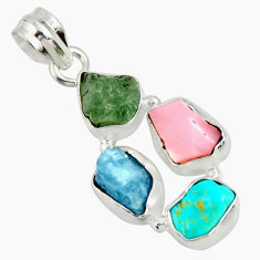 13.66cts natural green tourmaline campitos turquoise 925 silver pendant r26888