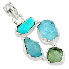14.45cts natural green tourmaline campitos turquoise 925 silver pendant r26889