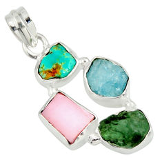 13.66cts natural green tourmaline campitos turquoise 925 silver pendant r26890