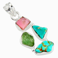 13.15cts natural green tourmaline campitos turquoise 925 silver pendant r26894