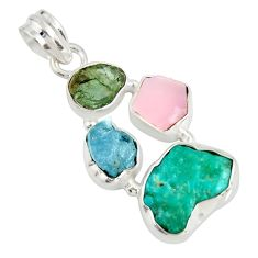 14.45cts natural green tourmaline campitos turquoise 925 silver pendant r26896