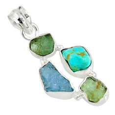 13.66cts natural green tourmaline campitos turquoise 925 silver pendant r26897