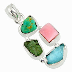 14.02cts natural green tourmaline campitos turquoise 925 silver pendant r26898