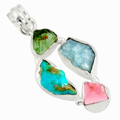 15.53cts natural green tourmaline campitos turquoise 925 silver pendant r26900