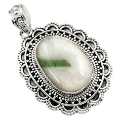 Clearance Sale- 13.65cts natural green tourmaline in quartz 925 sterling silver pendant d45014
