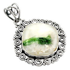 15.29cts natural green tourmaline in quartz 925 sterling silver pendant d46617