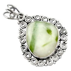 13.24cts natural green tourmaline in quartz 925 sterling silver pendant d46687
