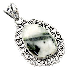 15.39cts natural green tourmaline in quartz 925 sterling silver pendant d46747