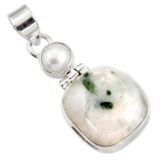 Clearance Sale- 19.48cts natural green tourmaline in quartz pearl 925 silver pendant d44162