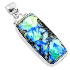 22.59cts natural green turquoise azurite 925 sterling silver pendant r69818