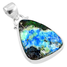 14.07cts natural green turquoise azurite 925 sterling silver pendant r69820