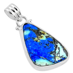 16.73cts natural green turquoise azurite 925 sterling silver pendant r69826
