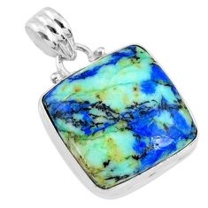 19.07cts natural green turquoise azurite 925 sterling silver pendant r69838