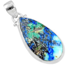 16.62cts natural green turquoise azurite 925 sterling silver pendant r69856