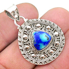 5.06cts natural green turquoise azurite 925 sterling silver pendant t44924