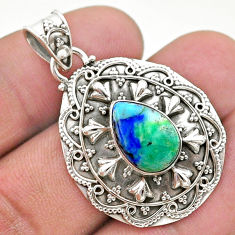 4.81cts natural green turquoise azurite 925 sterling silver pendant t44938