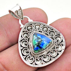 5.32cts natural green turquoise azurite 925 sterling silver pendant t44956
