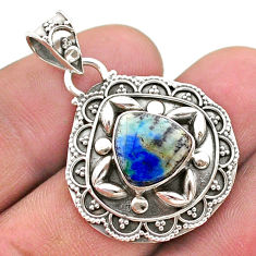 5.11cts natural green turquoise azurite 925 sterling silver pendant t44959