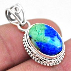 6.57cts natural green turquoise azurite 925 sterling silver pendant t46781