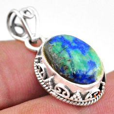 6.26cts natural green turquoise azurite 925 sterling silver pendant t46782