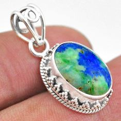 6.26cts natural green turquoise azurite 925 sterling silver pendant t46797