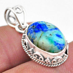 6.27cts natural green turquoise azurite 925 sterling silver pendant t46798