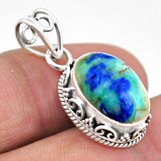 6.47cts natural green turquoise azurite oval 925 sterling silver pendant t46787