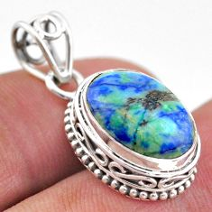 5.99cts natural green turquoise azurite oval 925 sterling silver pendant t46791