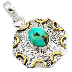 4.31cts natural green turquoise tibetan 925 silver 14k gold pendant r37105