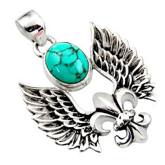 4.24cts natural green turquoise tibetan 925 silver feather charm pendant r52861